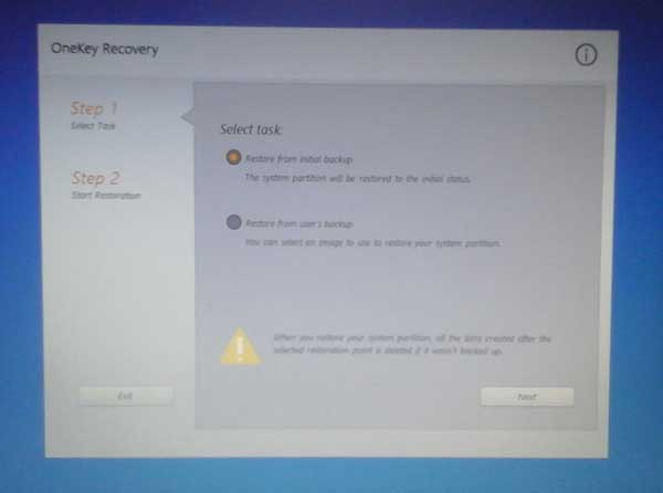 How to restore factory settings lenovo laptops