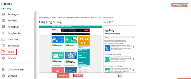2 cara mengganti template blogger yang tepat dan benar - Menu Tema di Blogger