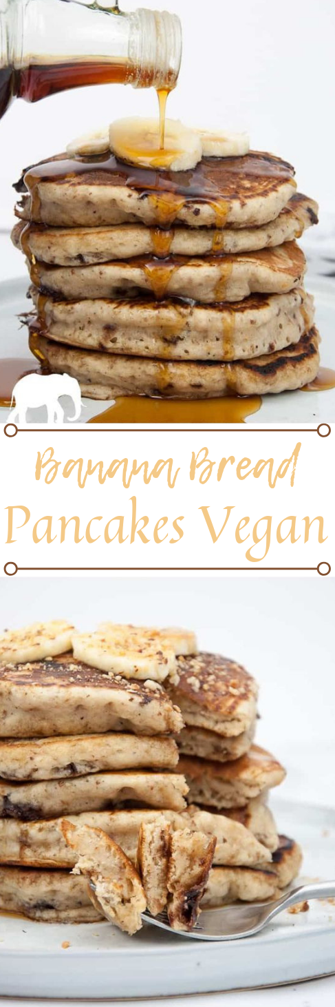 VEGAN BANANA BREAD PANCAKES WITH CHOCOLATE CHUNKS #desserts #banana #vegan #cakes #chocolate