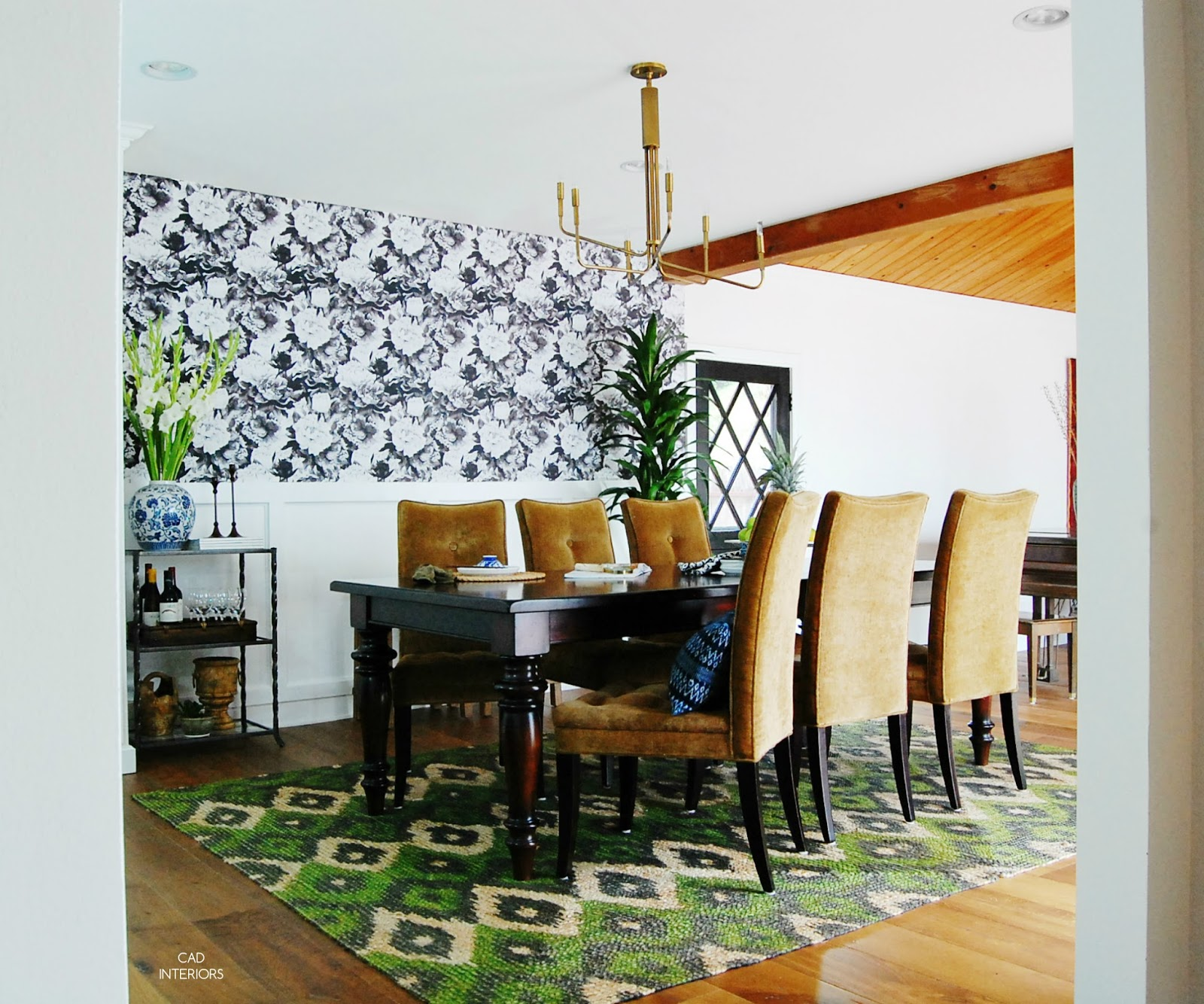 mid century modern farmhouse dining room interior design one room challenge floral wallpaper jute rug