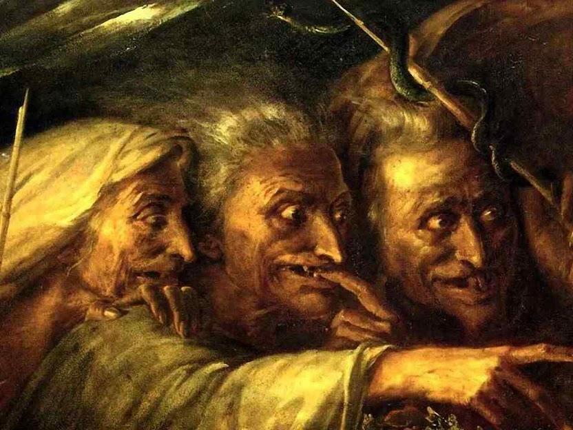 As Bruxas de Macbeth, Alexandre-Marie Colin (1798-1875), col. priv