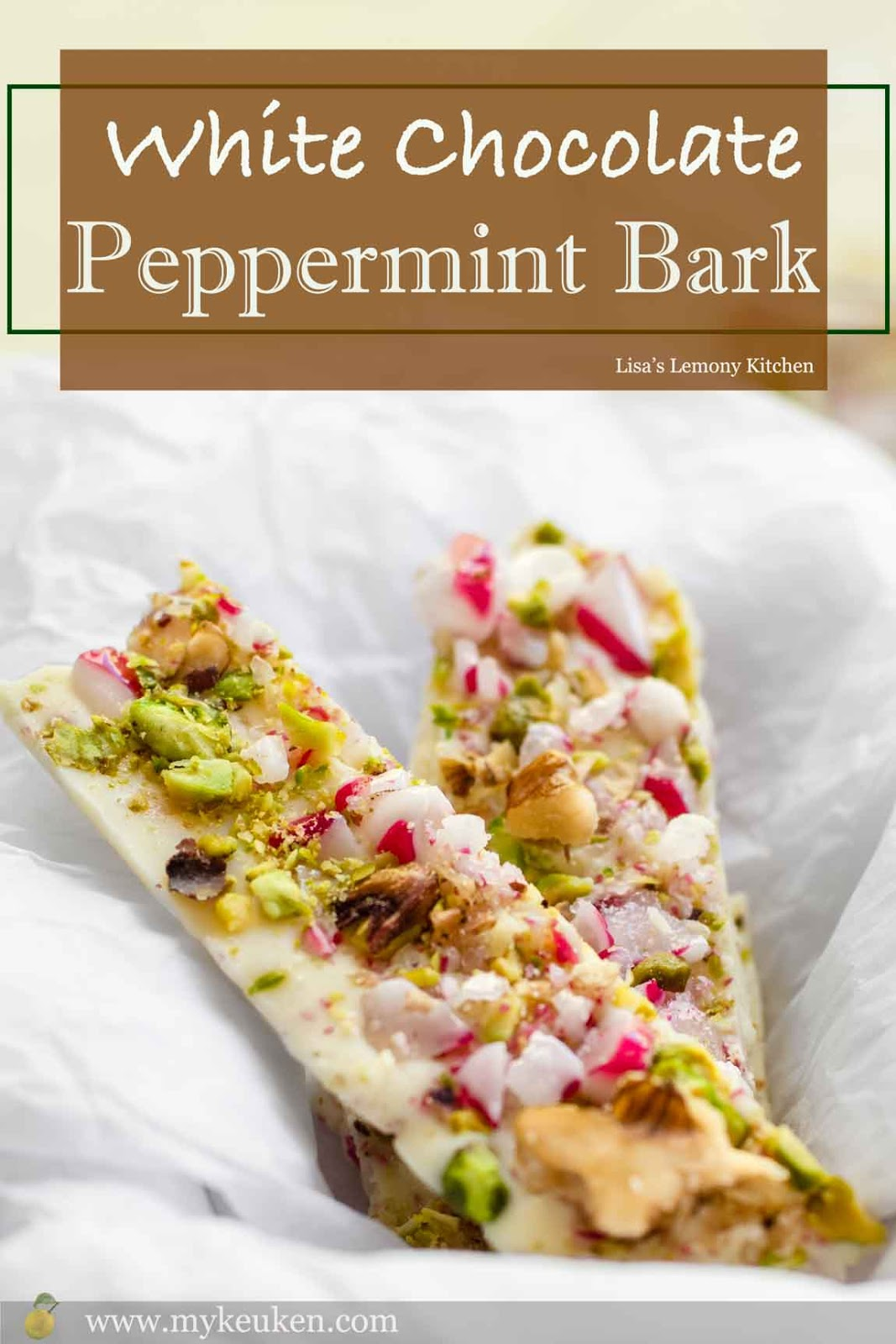 White chocolate peppermint bark recipe.  Simple recipe for homemade peppermint bark topped with crushed candy canes, chopped pistachios and chopped walnut. This delicious peppermint bark makes an excellent gifts this holiday season