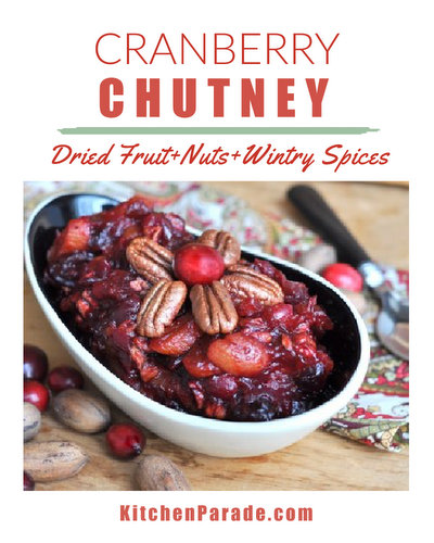 Cranberry Chutney ♥ KitchenParade.com, a thick relish with pecans, raisins, dried apricots, ginger and spices. One of my oldest recipes, perfect for Thanksgiving and beyond.