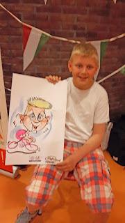 karikatuur tekening van model jongen geruite broek