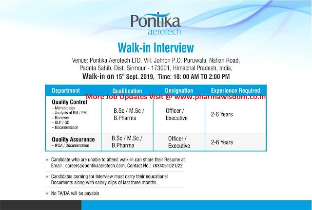Pontika Aerotech Ltd - Walk-In Interview for Multiple