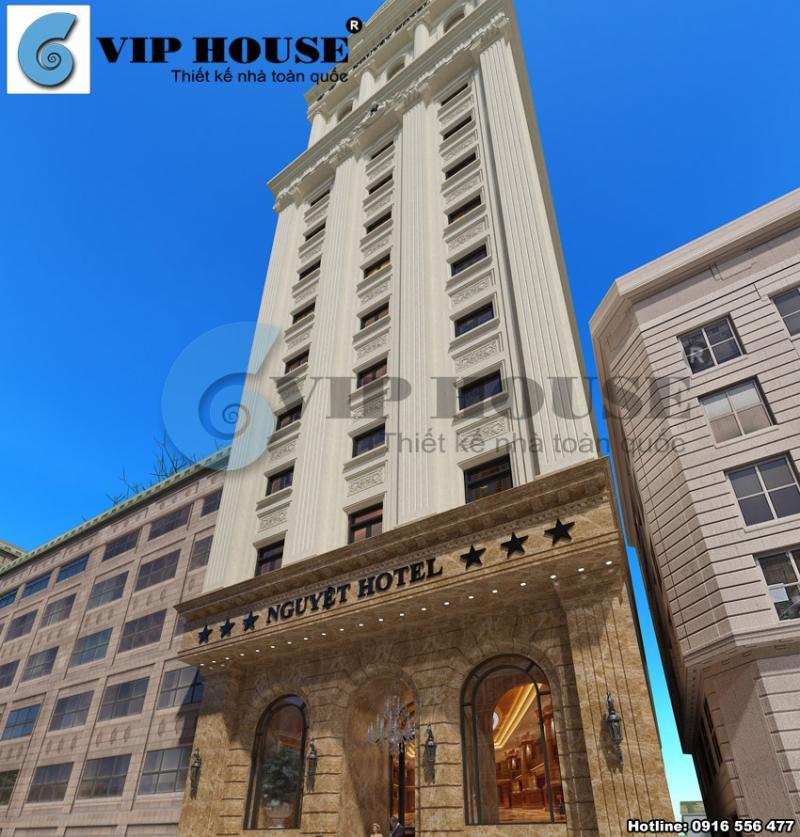Hình ảnh: Thiết kế kiến trúc khách sạn 3 sao 13 tầng được trang trí bằng hệ thống đường phào chỉ và đèn chùm linh hoạt