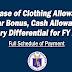 Clothing Allowance, Mid-Year Bonus, Cash Allowance, Salary Differential FY 2019