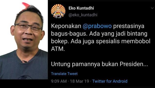 """Rahayu Mau Laporkan Twit Pelecehan, Eko Kuntadhi Hapus Cuitan """"Keponakan Prabowo jadi Bintang B*kep"""""""