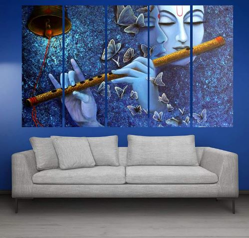 Kyara arts Multiple Frames, Beautifulradha Krishna with bansuri Wall Painting
