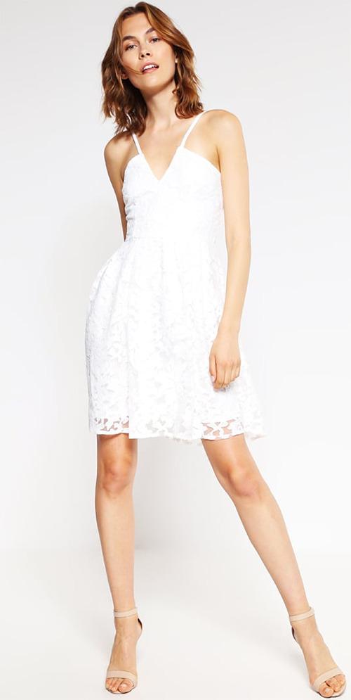 Robe courte de soirée blanche en dentelle Miss Parisienne