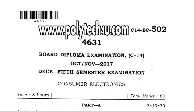 DIPLOMA CONSUMER ELECTRONICS OLD QUESTION PAPER C-14 ECE 2017