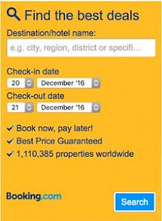 formulaire de recherche sur booking