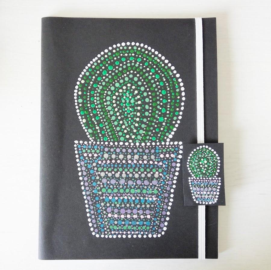 Técnica-del-Puntillismo- Libreta y separador-de-cactus-Creando y Fofucheando