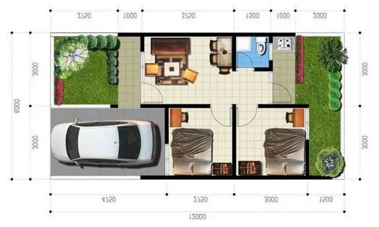 Desain Rumah Minimalis Type 36 dengan Carport dan Taman di Depan Juga Belakang Rumah