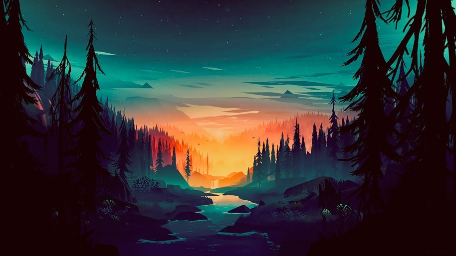 Sunrise, Forest, River, Scenery, Digital Art, 8K, #118