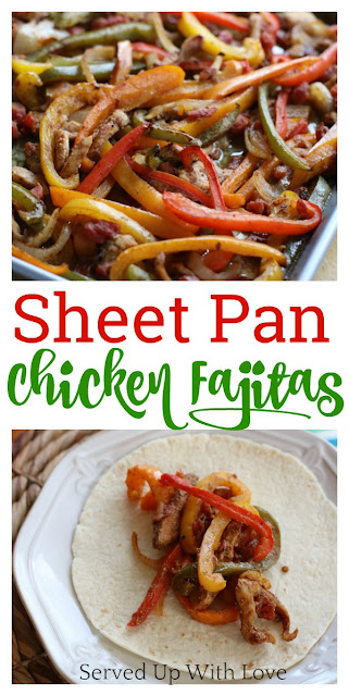 Sheet Pan Chicken Fajitas are super easy to make. Just dump the ingredients on the pan, mix in the seasoning, bake, and top with your favorite toppings.
