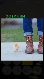 389 фото ноги обуты в ботинки и рядом стоит цыпленок 2 уровень