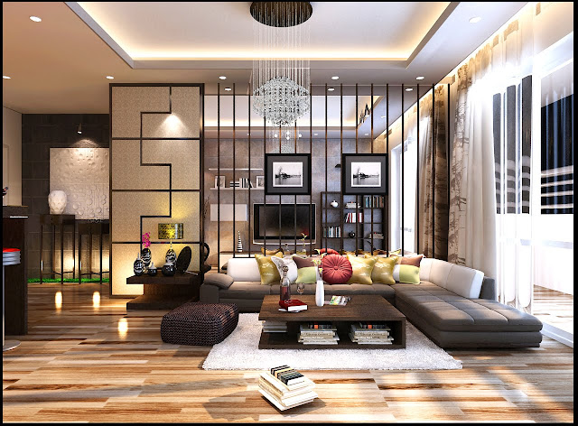 Phòng khách chung cư Samsora chu văn an