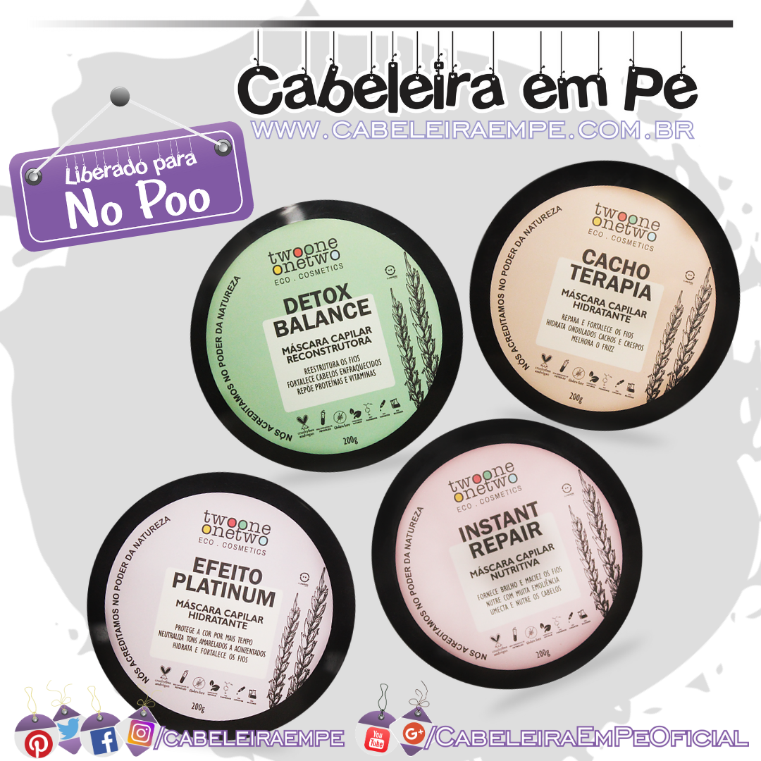 Drops of Nature Máscaras Capilares Efeito Platinum, Instant Repair, Cacho Terapia e Detox Balance - TwoOne Onetwo (No Poo)