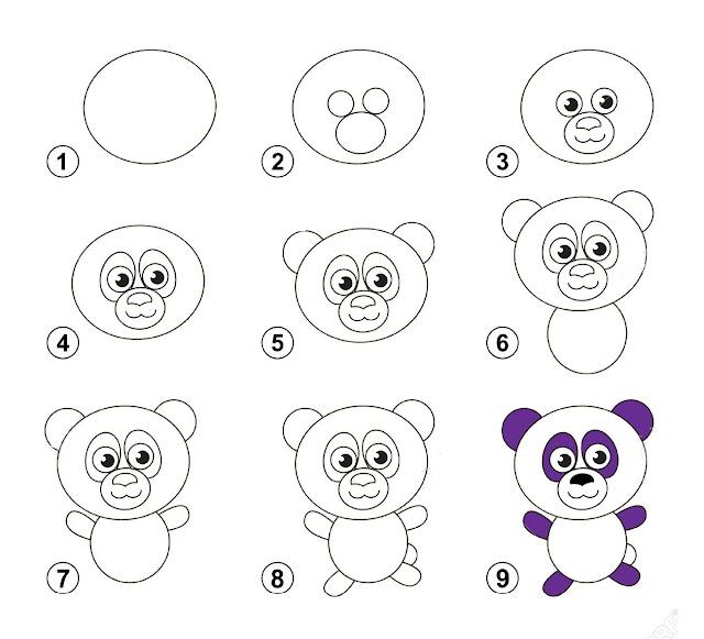 رسم دب الباندا سهل