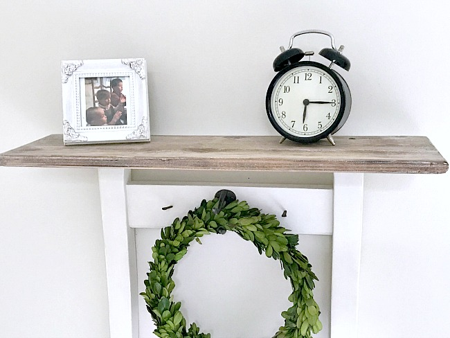DIY Farmhouse style repurposed chair shelf with wreath