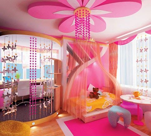 POP design in girls bedroom - plaster of paris false ceiling designs
