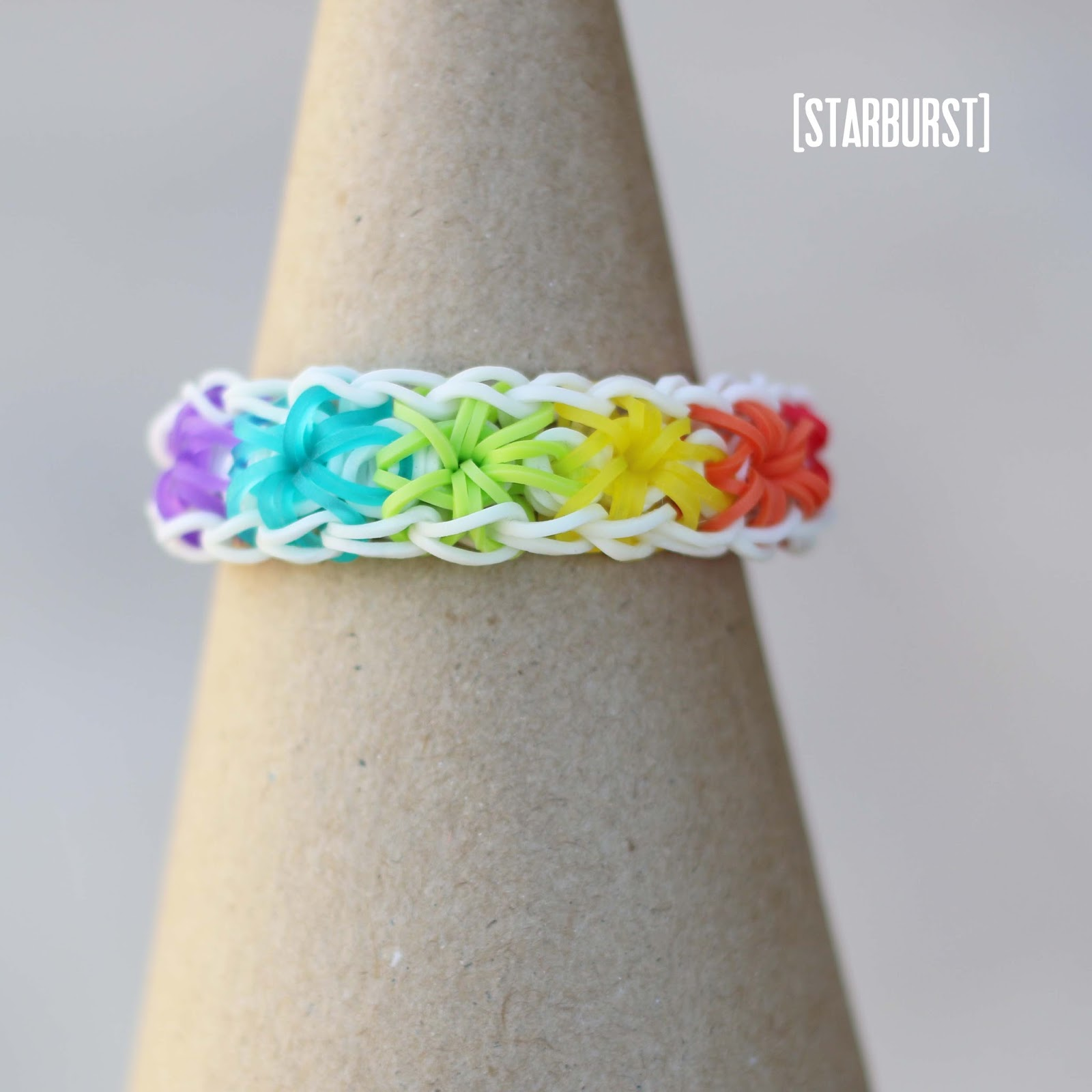 How to make a rubber band bracelet starburst