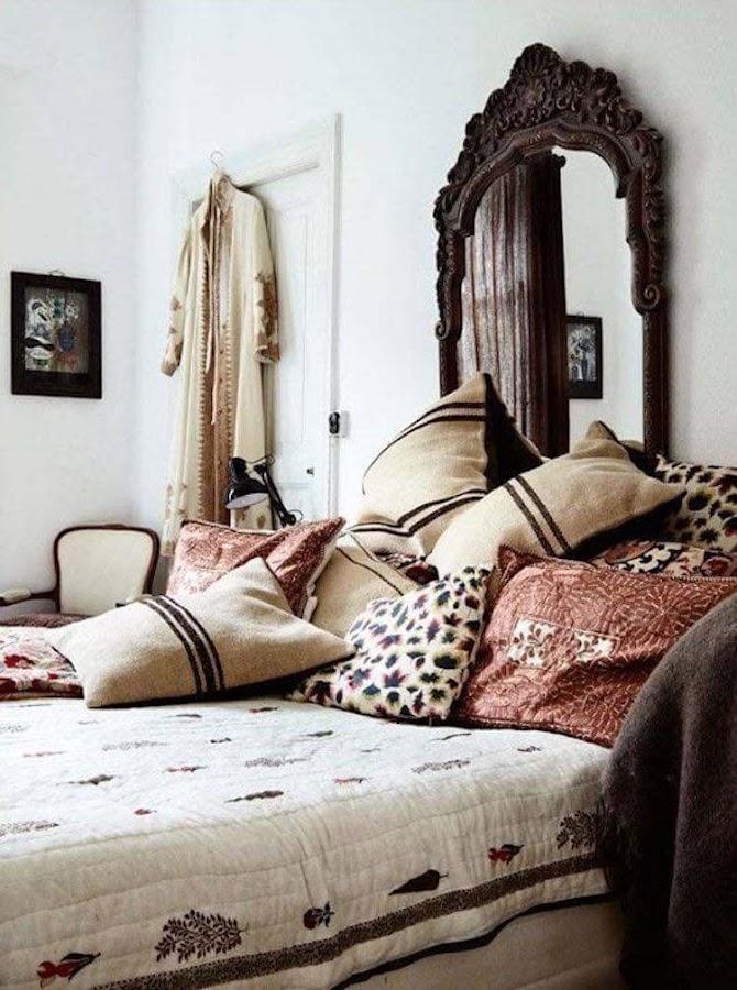 cabecero cama con espejo antiguo