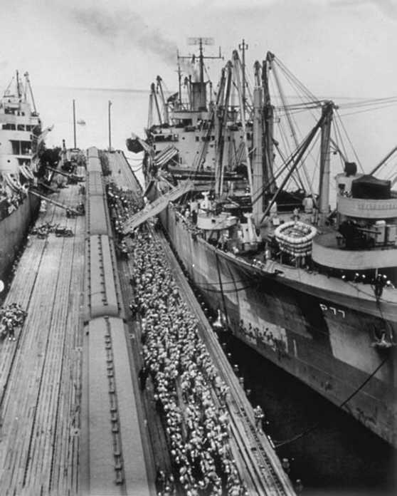 Men Waiting to Board Ship World War II