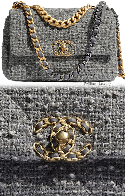 Grey Chanel wool tweed 19 flap bag #brilliantluxury