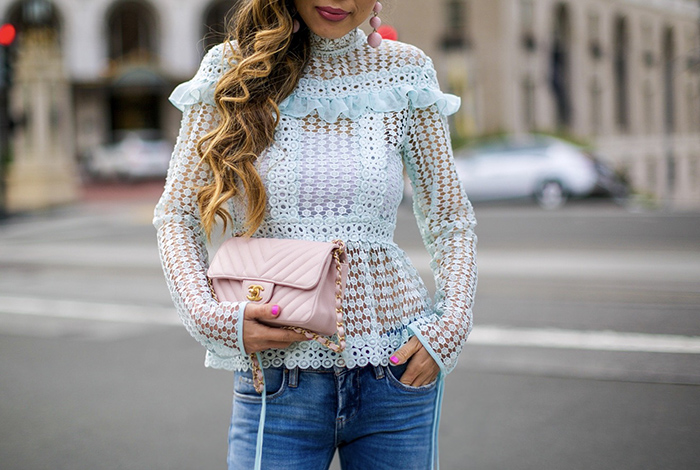 Glamorous mint lace blouse, mint lace blouse, blank denim jeans, christian louboutin pink pumps, pink chanel classic flap bag, baublebar earrings, spring outfit ideas, shopbop sale, san francisco street style, san francisco fashion blog