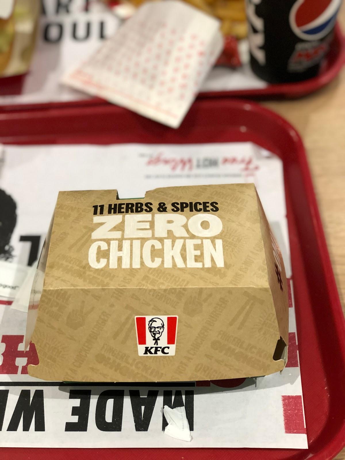 A shot of the KFC vegan burger box
