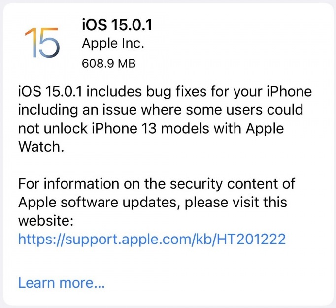 iOS 15.0.1 Features