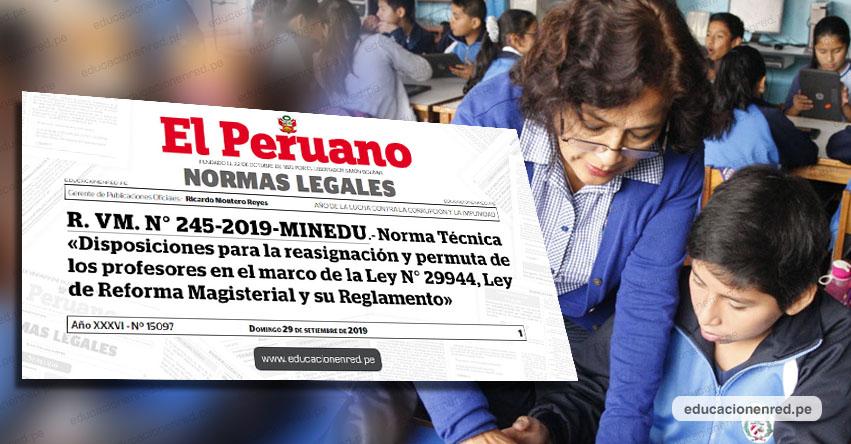 MINEDU anuncia proceso de Reasignación y Permuta Docente 2019 [CRONOGRAMA] R. VM. N° 245-2019-MINEDU