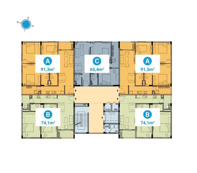 Mặt bằng tầng 2- 5 các tòa CC1, CC2, CC3