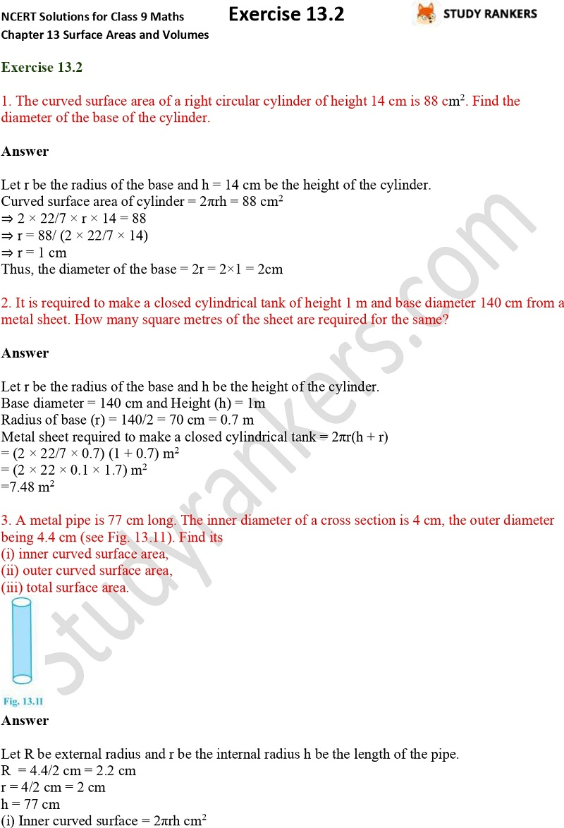NCERT Solutions for Class 9 Maths Chapter 13 Surface Areas and Volumes Exercise 13.2 Part 1