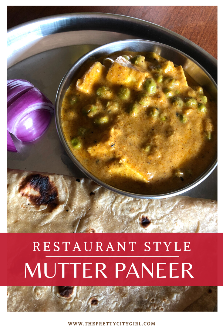 mutter paneer with onion and roti