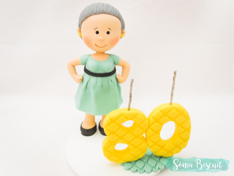 Topo de Bolo, Biscuit, Sonia Biscuit, 80 Anos, Vovo