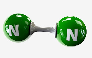 representation of nitrogen molecule N2