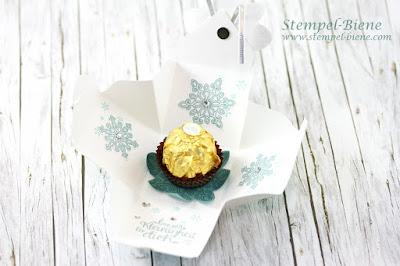 Explosionsbox Weihnachten; leichte explosionsbox basteln, stampin up explosionsbox, Verpackung Rocher; Stempel-Biene, Stampin up Frühjahrskatalog 2016
