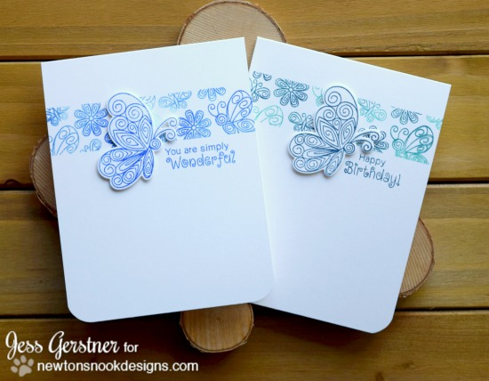 Butterfly Cards by Jess Gerstner | Beautiful Wings stamp set by Newton's Nook Designs #newtonsnook