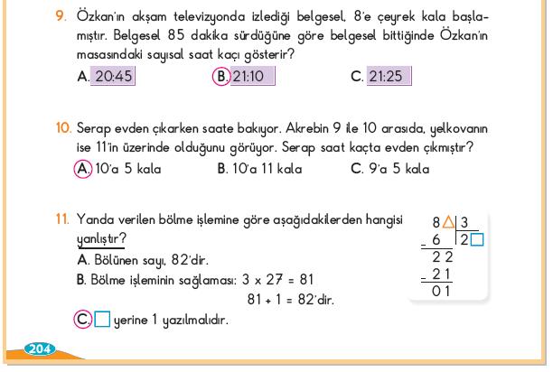 3. Sınıf Berkay Yayınları Matematik Ders Kitabı 204.Sayfa Cevapları 5. Ünite Değerlendirmesi
