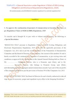 special resolution under regulation 17(6)(e) of sebi lodr regulations