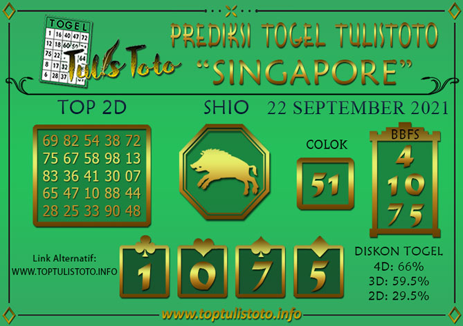 Prediksi Togel SINGAPORE TULISTOTO 22 SEPTEMBER 2021