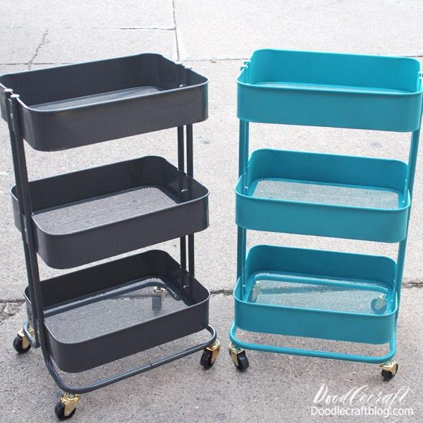 Spray Painted Rolling Storage Cart DIY!