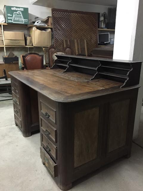 secretária, antiga, portuguesa, escritório, vintage, madeira maciça