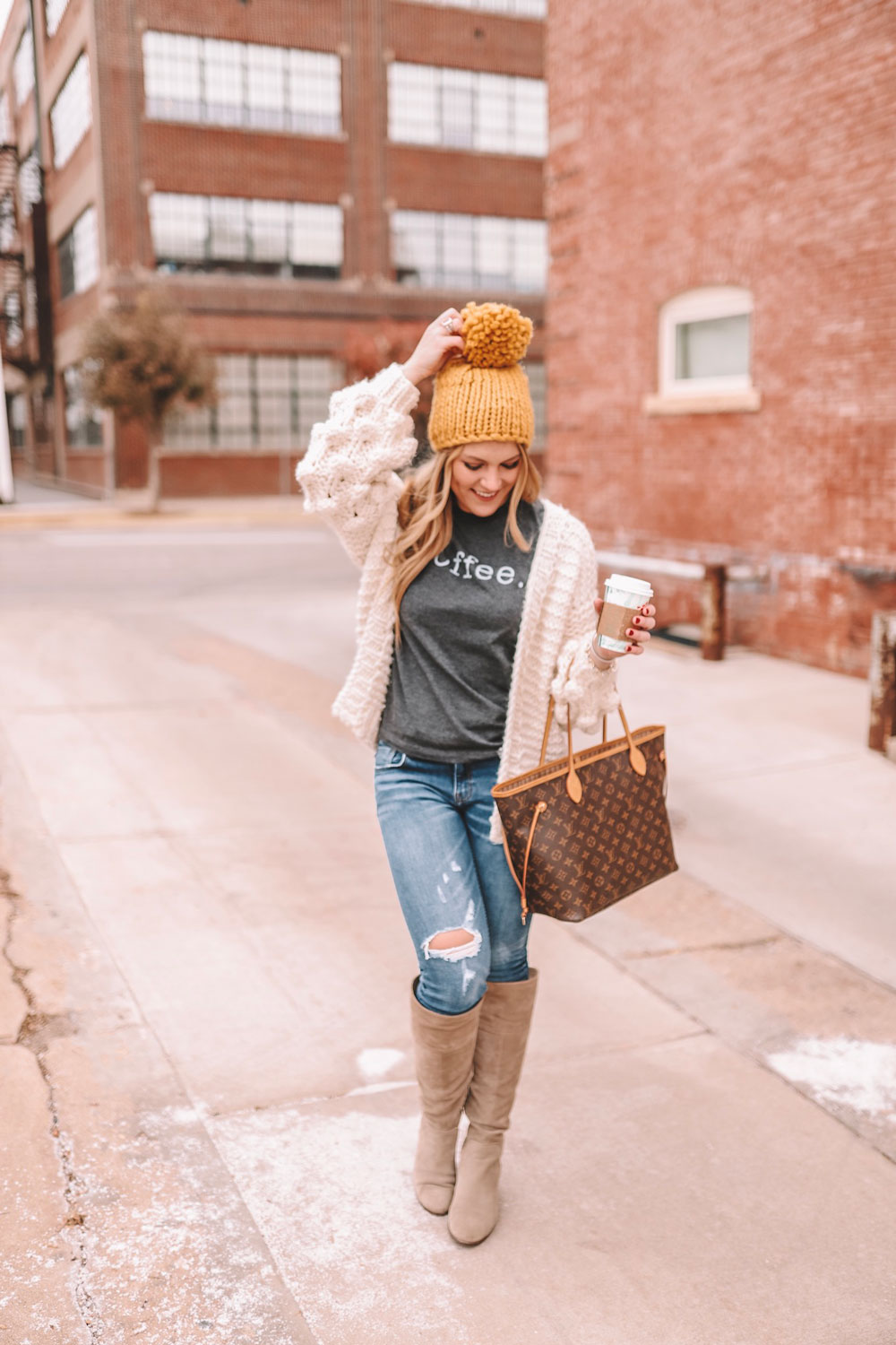 Amanda Martin wears cozy knits to stay warm on a chilly OKC day