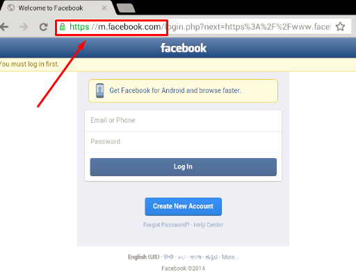 Facebook Mobile Website Login