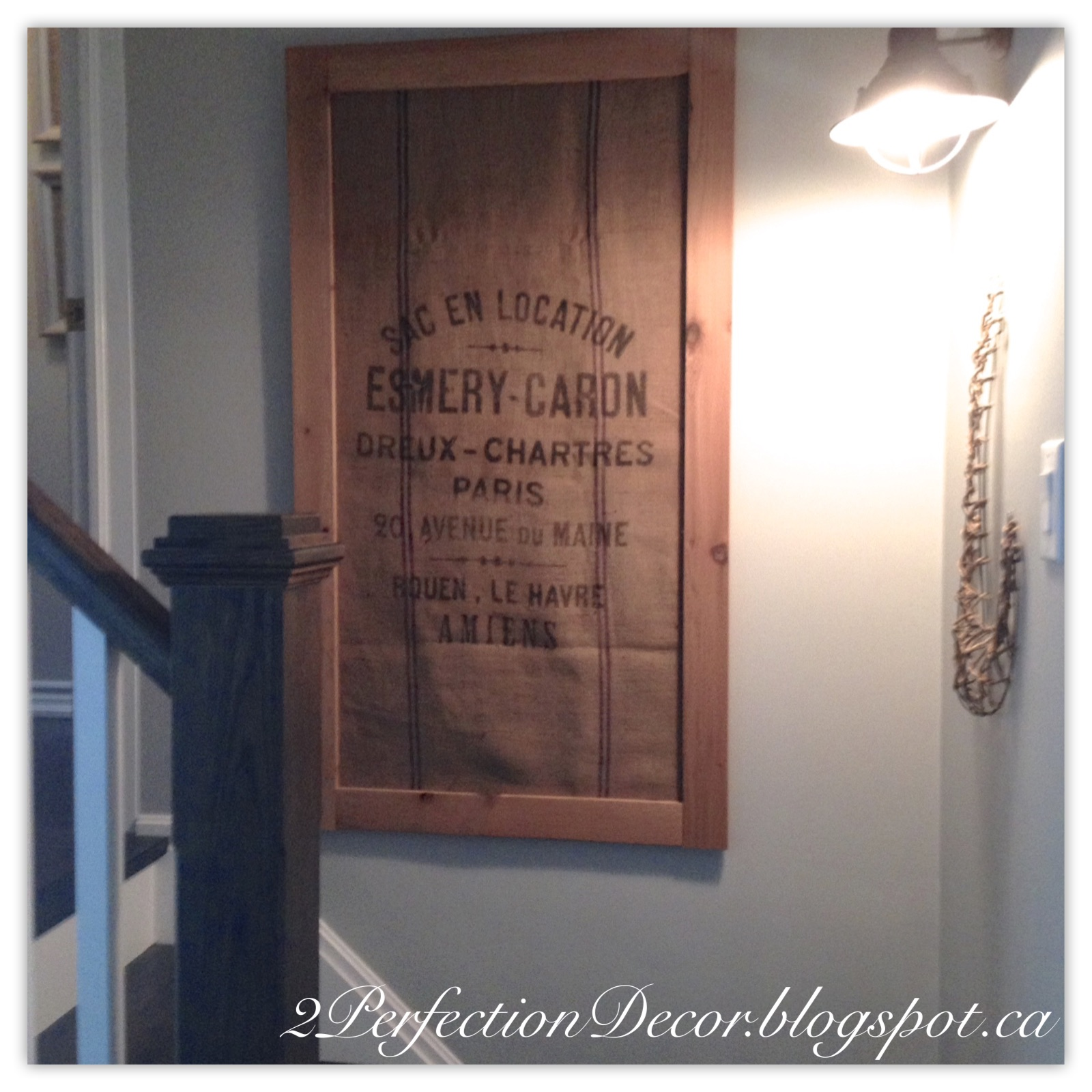 Diy Wall Art Burlap : Perfection decor vintage burlap bag as wall art