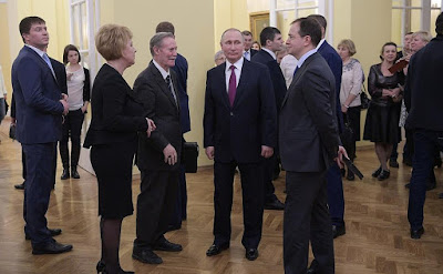 Vladimir Putin, Maly Theatre's Artistic Director Yury Solomin (centre), Director General Tamara Mikhailova and Minister of Culture Vladimir Medinsky.